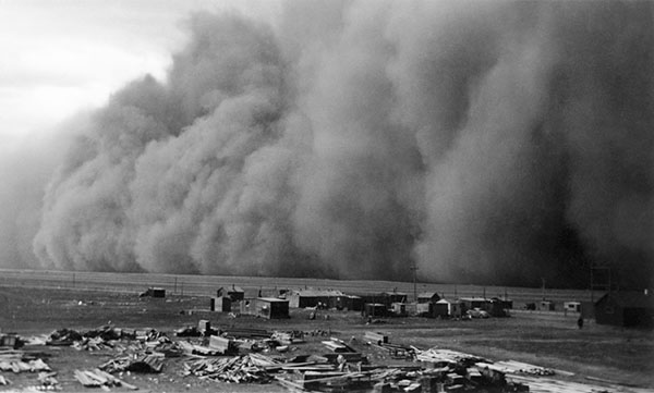 Dust storm at Pearce Airport, 22 miles west of Lethbridge, Alberta. April 1942. Glenbow Archives NA-2496-1