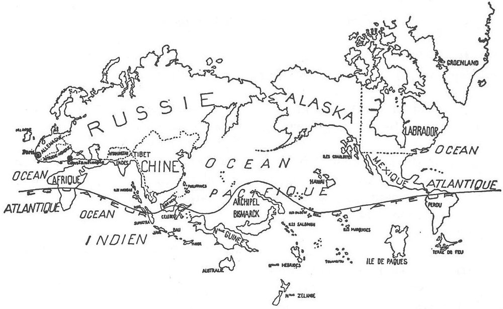 the surrealist map of the world, 1929