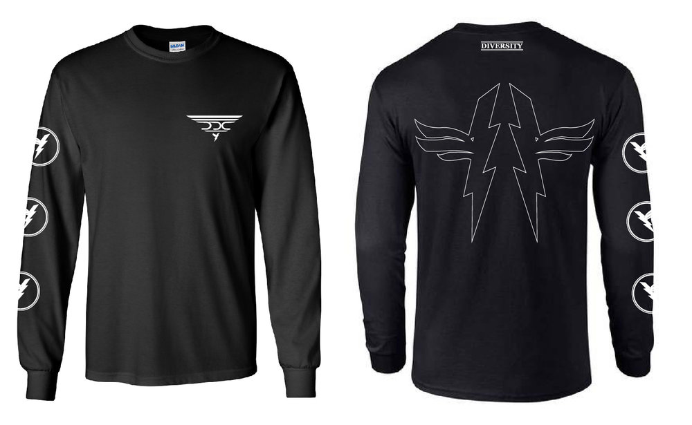#104 - Black DDC long-sleeve front and back$25.00