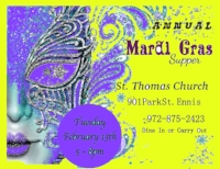 MARDI GRAS 2018  Annually we have a Mardi Gras Supper on Fat Tuesday, from 5pm to 8pm. Please remember to join us in 2019 for gumbo, rice, beans, bread pudding and great fellowship. Dine in or Carry out is always available.