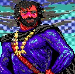 Rich Lovejoy's rendering of Ben Beckley as a video game hero. (The beard reflected reality; the muscles, not so much.)