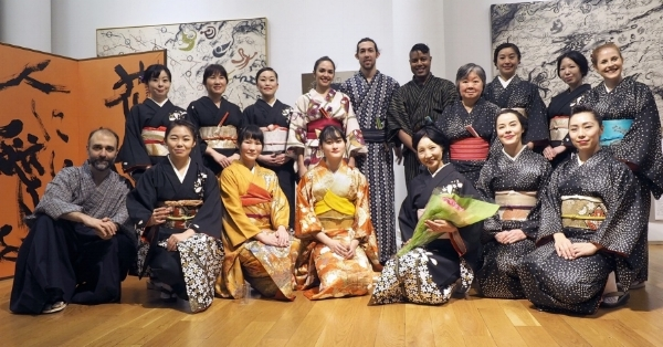 Ben (left) with the performers of  Odorizome , all students of Sachiyo Ito (center, with flowers)