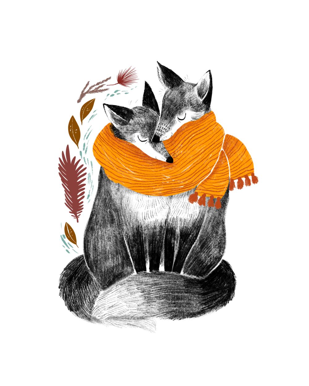 Snuggling Foxes // Digital illustration, 2019