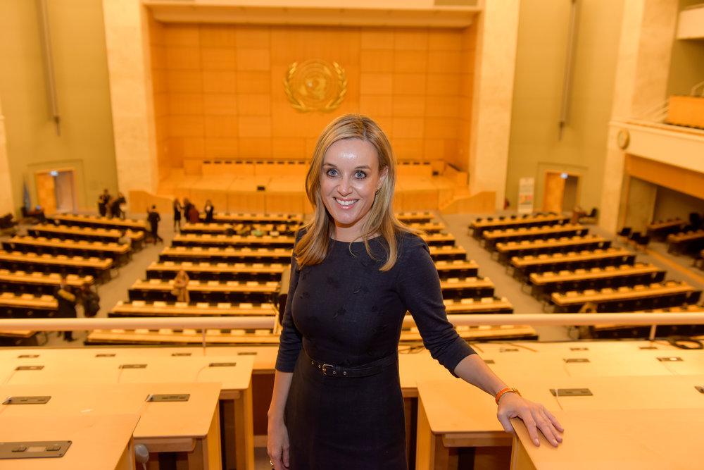 Clare at the UN, Geneva, 2017.