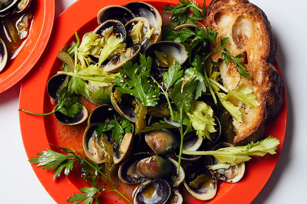 Littleneck Clams With Celery and Toasted Garlic