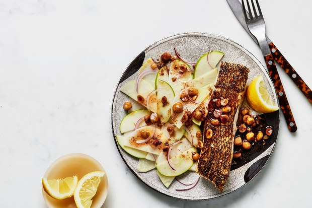 Crispy Fish with Brown Butter Sauce and Kohlrabi Salad