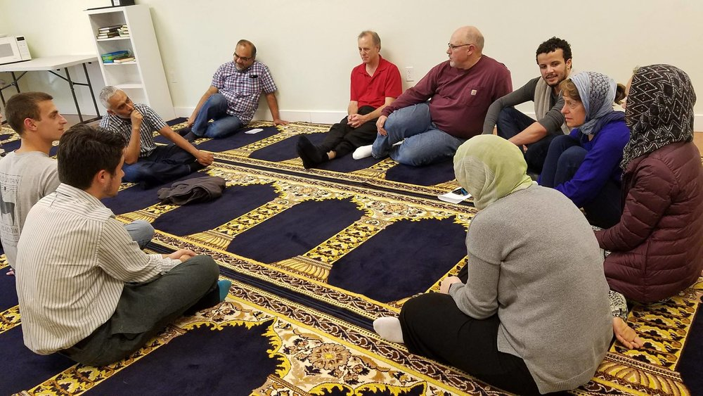 With Multnomah students and others at a mosque in Beaverton