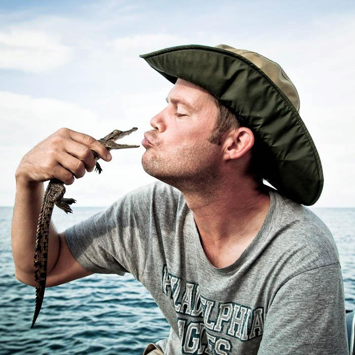 Kissing baby crocs at Lago Niassa in Mozambique circa 2012