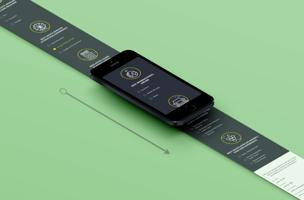 Mobile view- South Africa responsive landing page with all categories and form field shown on load.