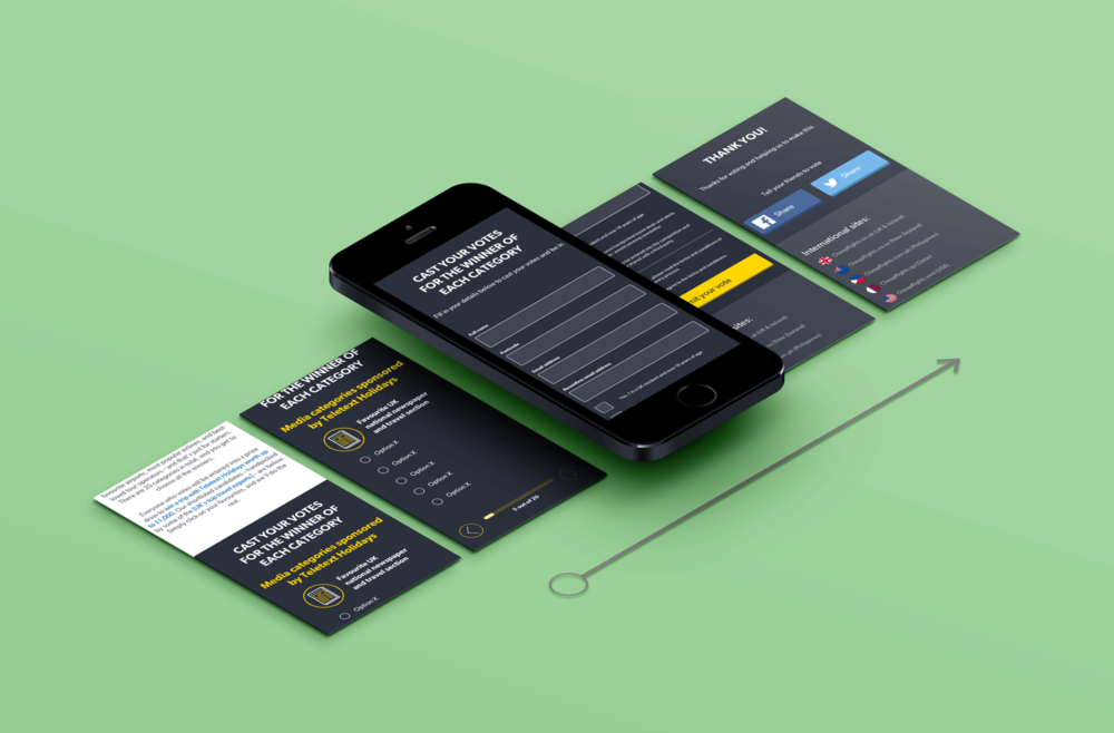 Mobile view- UK responsive landing page with changed voting functionality, optimised for mobile use.