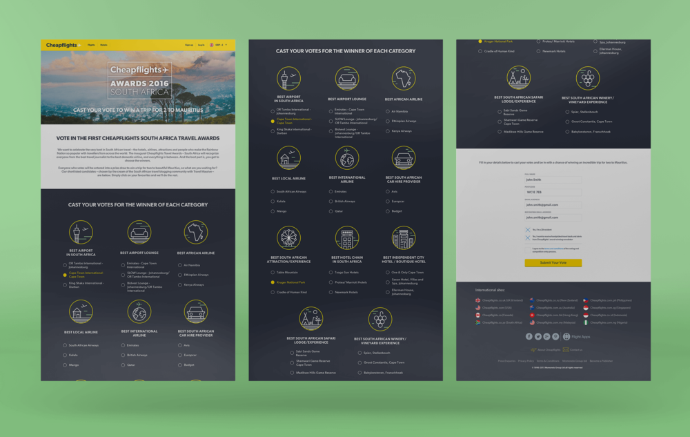 Desktop view - South Africa responsive landing page with all categories and form field shown on load.