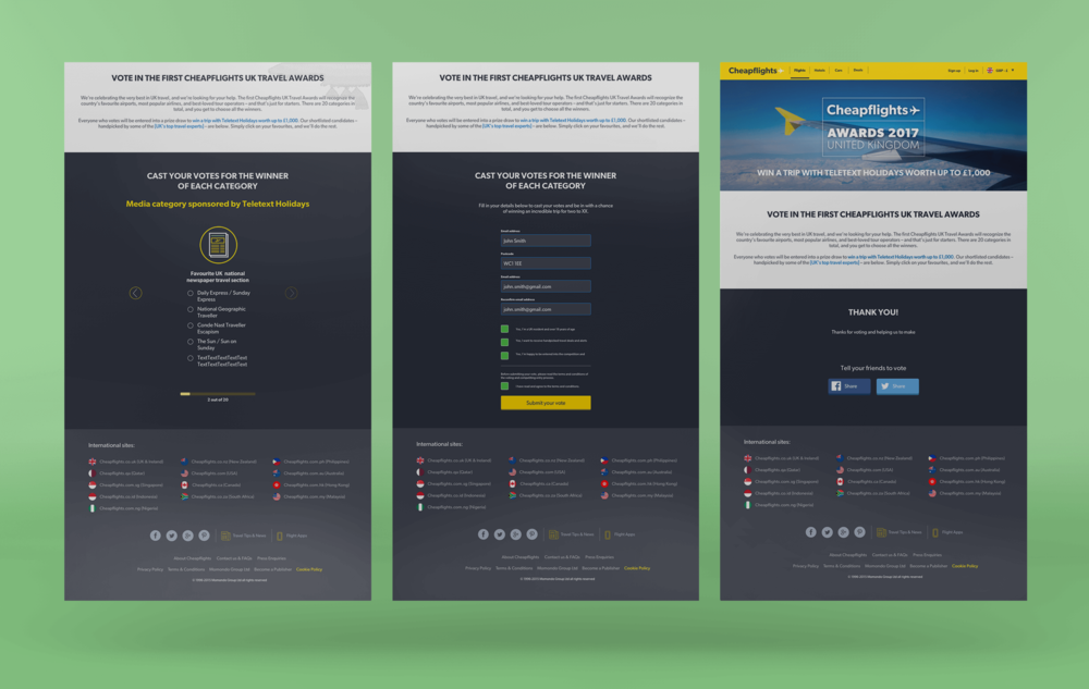 Desktop view - UK responsive landing page with changed voting functionality, optimised for mobile use and using new Design System components.