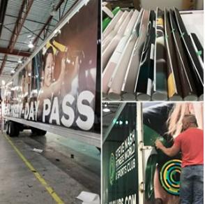 Semi truck wrap advertisement