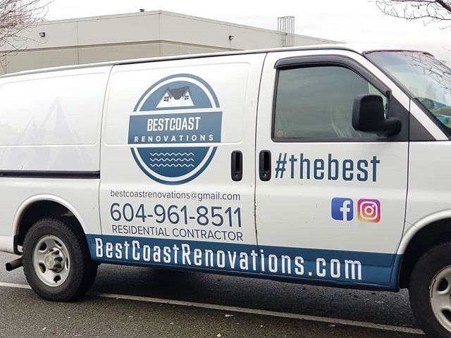 Decals to spruce up a well loved work van. @bestcoast_renovations Ready for the next reno job. #thebest #bestcoastrenovations #vinyl #vinylwrap #decals