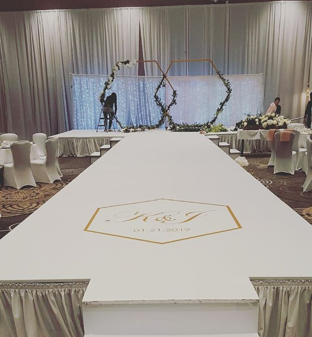 Wedding stage and runway @sheratonyvr  Thanks for having us #vinylwrap #vinylflooring #stage #stagedesign #customwrap #customlogo