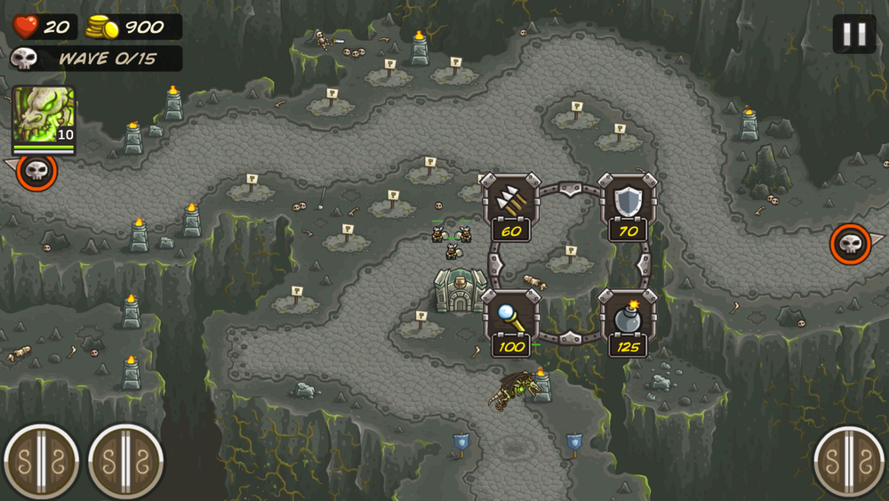 Archers, Infantry, mage and siege towers - Blank circles on the map indicate where the tower goes, and the player can easilly see what there options are when they click on a spot to build a tower