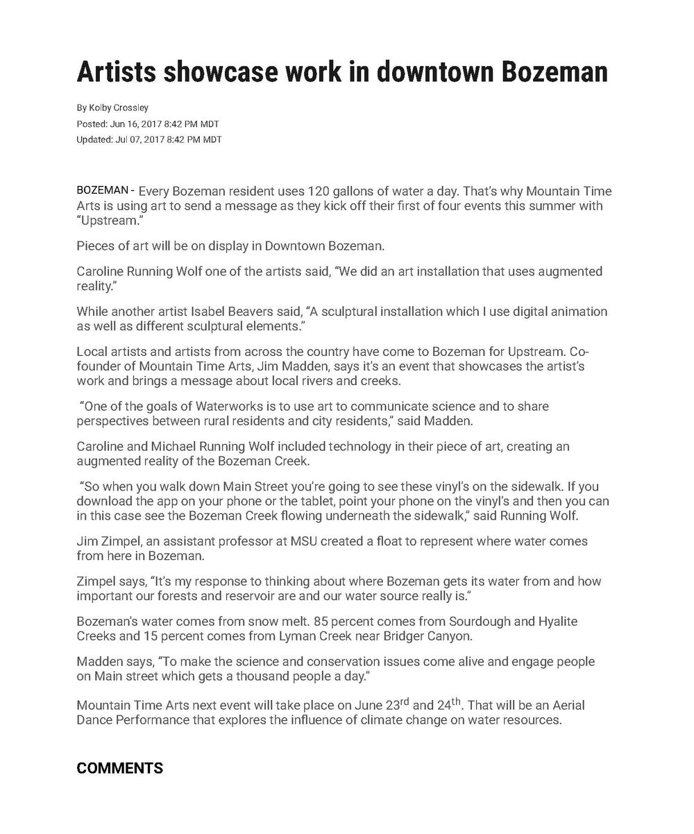 ABC Fox MT, June 2017: Artists showcase work in downtown Bozeman