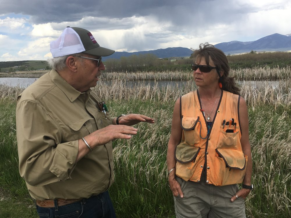 Pheasant Farms owner Tim Crawford (left) and wetlands scientist Lynn Bacon (right) discuss the health of the wetlands.