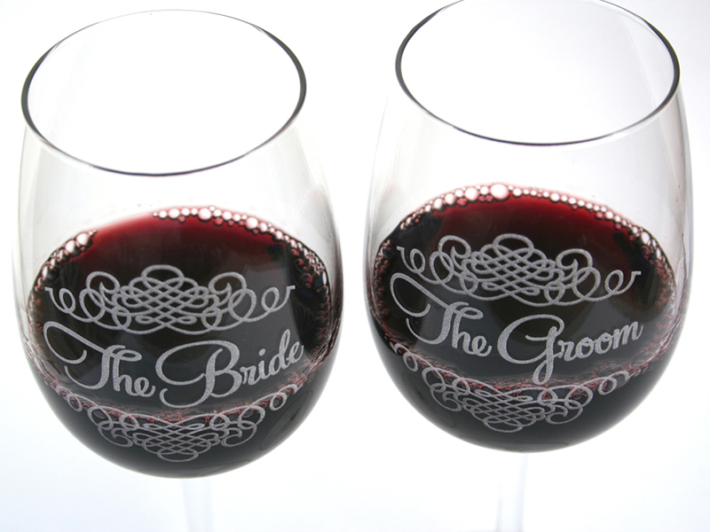 Custom engraved wine glasses.