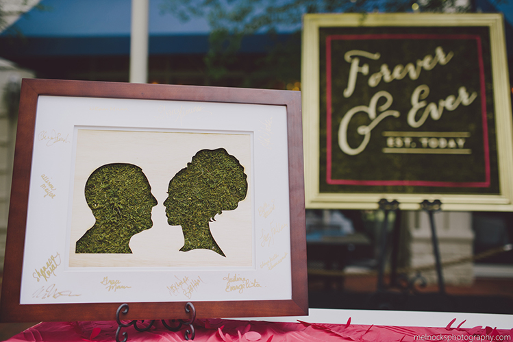 A laser cut silhouette of a bride and groom for their guest's signatures.