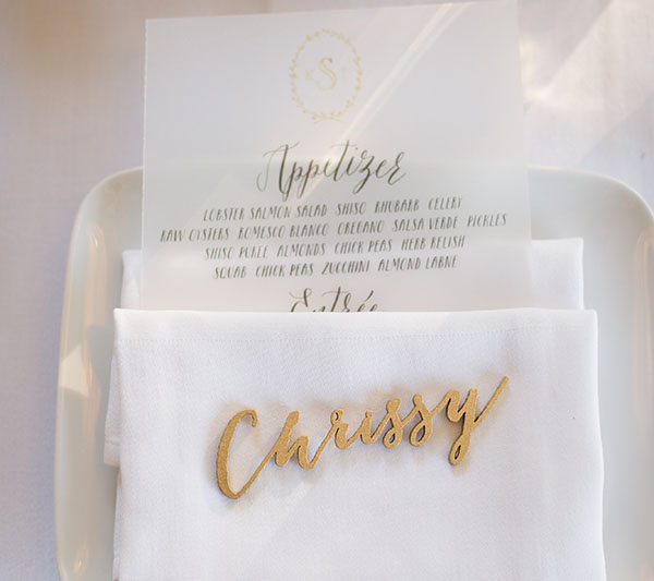 Individual guest names are laser cut out or gold wood.