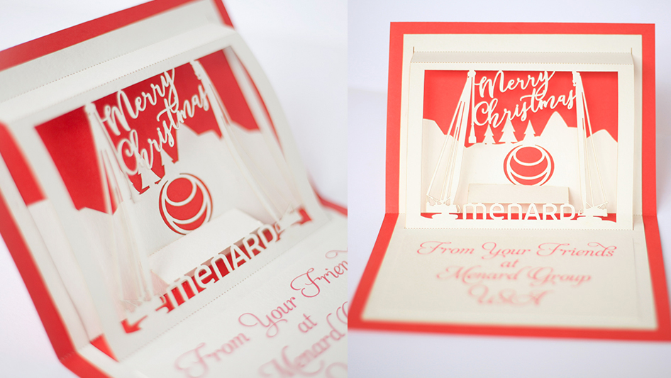 This custom pop up card features the company logo for Menard. How fun!