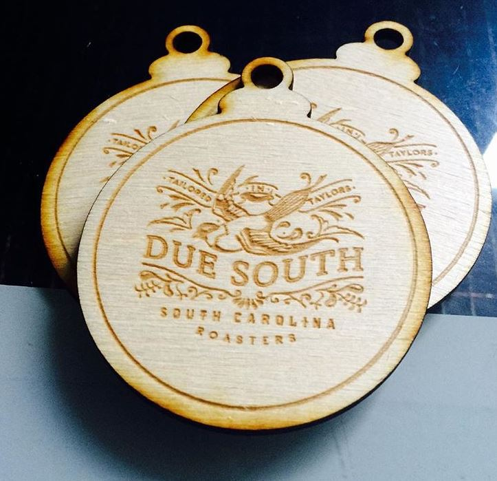 Wood engraved ornaments we made for  Due South Coffee Roasters  in Greenville, SC.