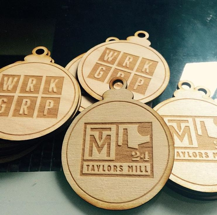 Wood engraved ornaments made for  Taylors Mill.