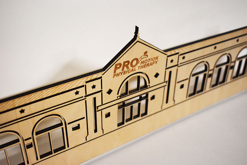 We can make a laser cut wood model of your business or home!