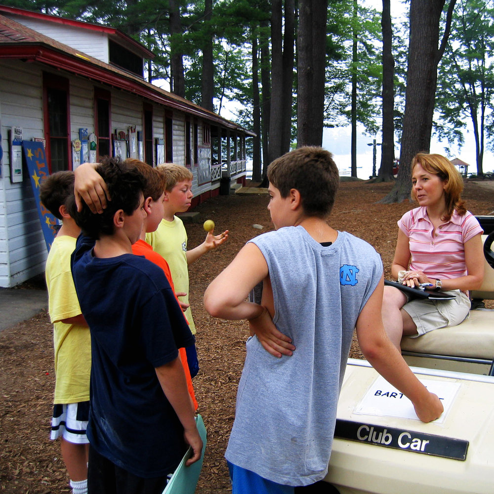 Jill consults with the boys at camp, getting some on-the-spot opinions.