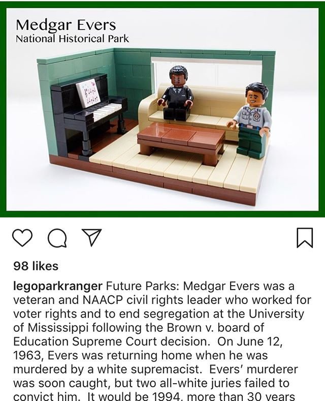 My sister initially told me about @legoparkranger , and I've loved following them since. Their posts use LEGO to combine historical facts, humor, current events and issues of social justice, all connected to bringing awareness to our US national parks. You're just going to love them popping up in your feed. • {Selected for #HOTY by @family.rewritten for the ingenuity of wrapping so much awareness and fun into a single feed.}