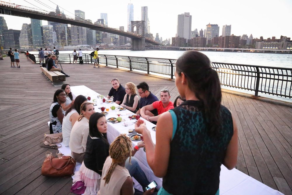 Chef Shuchi sharing her #eatKomeeda experience with the Kommunity at Dinner Under the Bridges.