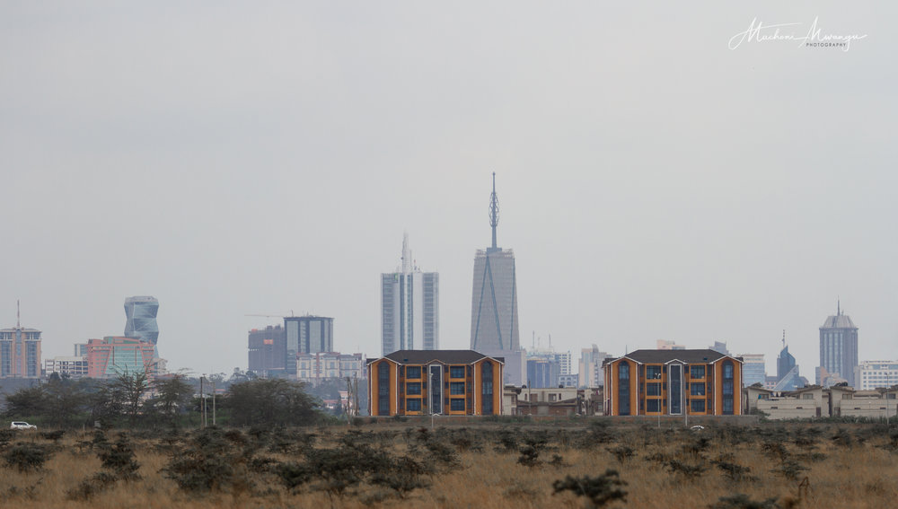 Urban dwellings along the southern by-pass with the background of Nairobi City