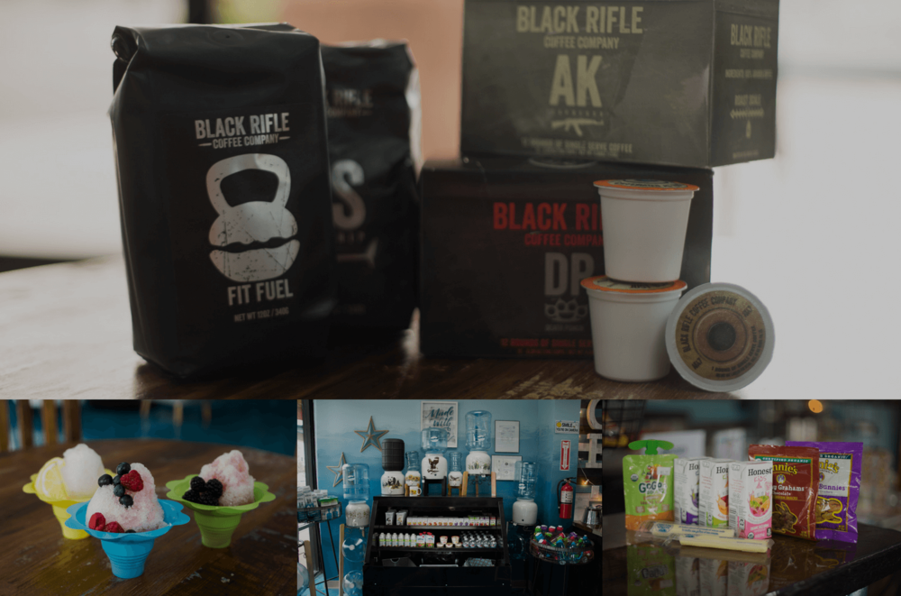 Other Products We Offer - We vow to always provide our customers with healthy and organic options. We offer Snowie® Naturals shaved ice, Black Rifle® Coffee products, we always want to make sure you are receiving top quality snacks and products.