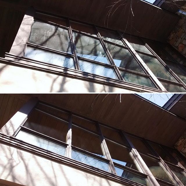 @warrenwilsoncollege has a beautiful campus. It's more pleasant to eat lunch with a clear view. Before & after pictures of their cafeteria windows.
