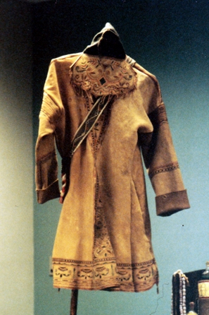 Naskapi or Mantagnais style brain tanned deer skin coat. Sinew sewn. Painted with fish eggs and natural earth pigment.