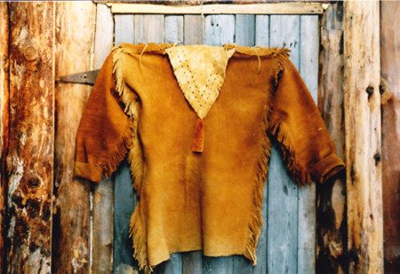 Brain tanned moose hide shirt. An example of a rare eastern woodlands native shirt. Very few remain in collections today.