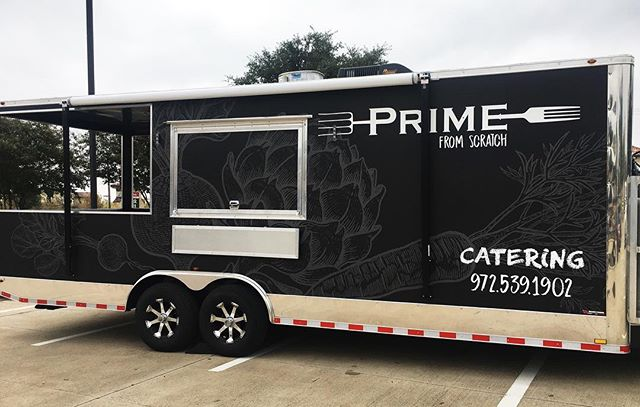 Our beautiful truck is wrapped up and ready for action! Make sure to follow us to get updates on where our food truck will be each weekend. #primescratch #primefarmtotable #farmtotable #foodtruck #food #foodstagram #denton #lewisville #texas #northtexas #eastside #dentonfoodtrucks #yum #scratchkitchen #mobilekitchen #catering #delicious