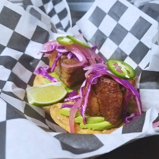 Do we have to explain how awesome these Pork Belly Tostadas taste?! Just look at them 😍 #delicious #porkbelly #pork #food #foodstagram #foodtruck #tostadas #pickledredonions #avocado #jalapeño #dentonfoodtrucks #denton #dentontx #foodtrucklife #yum #togo #dallasfoodie #dentonfood #texas #farmtotable #scratchkitchen #mobilekitchen