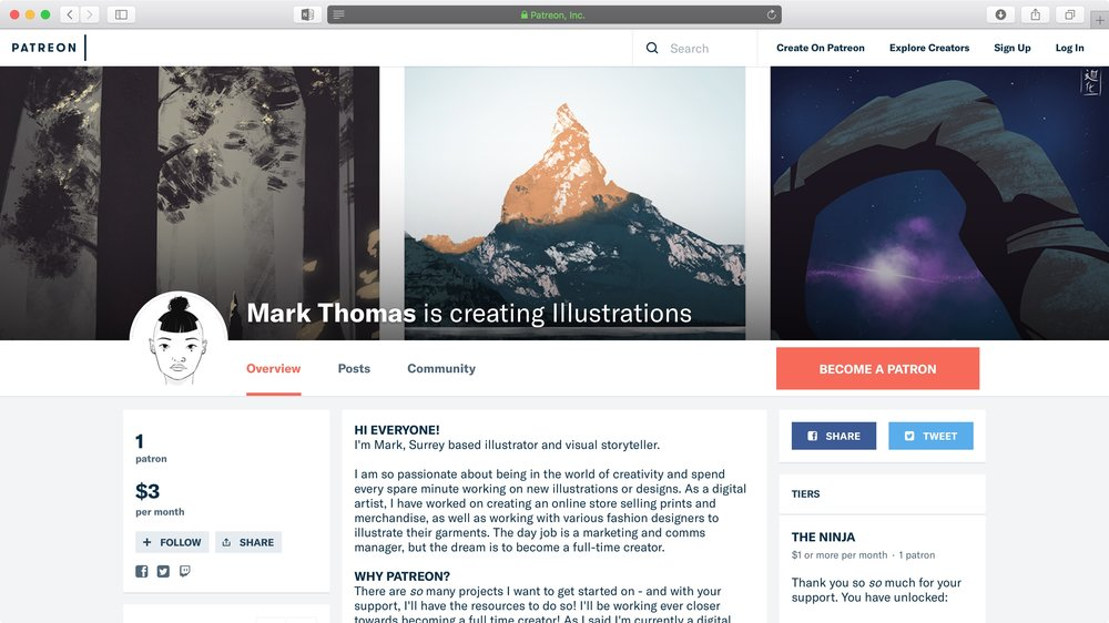 Screenshot of the Art Of Manta Patreon Page