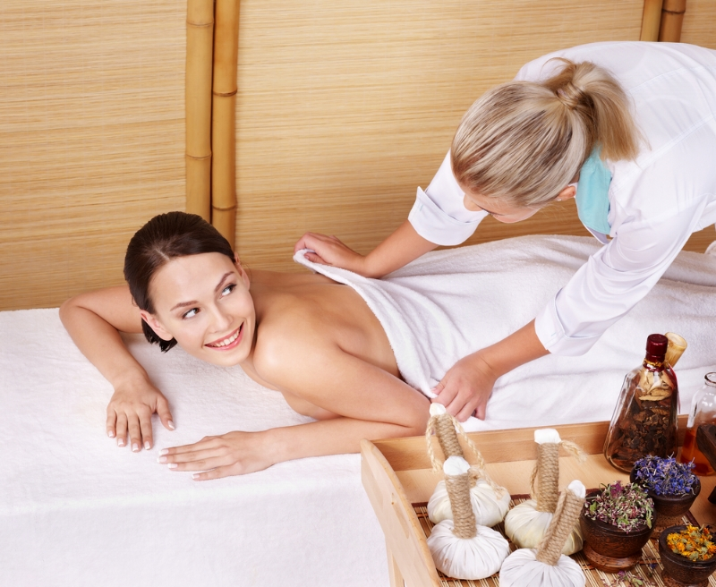 Lady talking during a massage