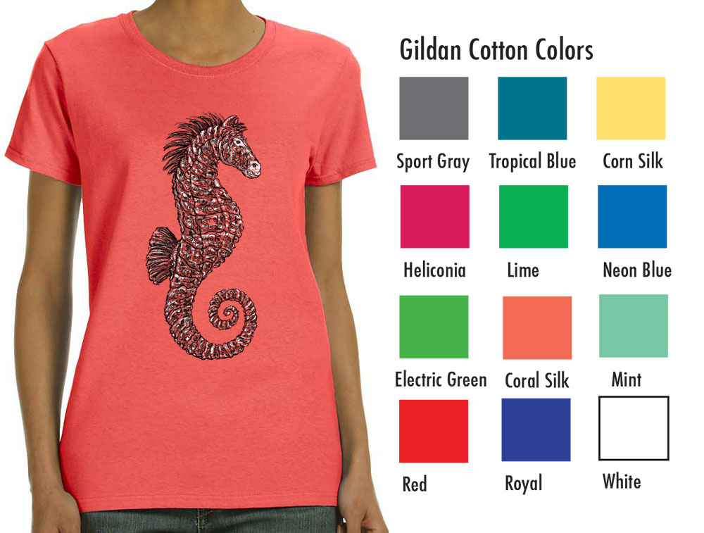 """Gildan 5000L Women's Basic T  SM-XL 7.50  XXL 9.50  Gildan® Ladies' 5.3 Ounce Heavy Cotton™ T-Shirt. Cap sleeves for comfort and side seam with semi-fitted contoured silhouette. 5.3 oz., 100% cotton preshrunk jersey knit fabric, seamless double needle ½"""" rib collar. Tearaway label."""