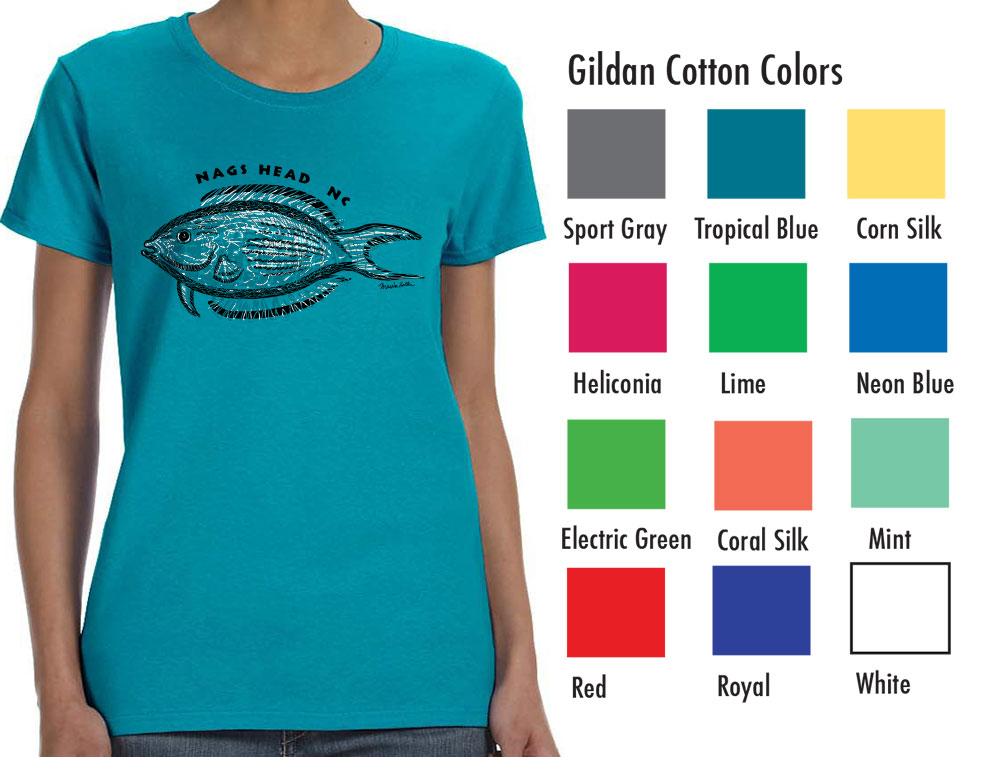 "Gildan 5000L Women's Basic T  SM-XL 7.50   XXL 9.50  Gildan® Ladies' 5.3 Ounce Heavy Cotton™ T-Shirt. Cap sleeves for comfort and side seam with semi-fitted contoured silhouette. 5.3 oz., 100% cotton preshrunk jersey knit fabric, seamless double needle ½"" rib collar. Tearaway label."