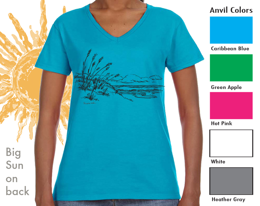 "Anvil 88VL Women's V-neck  SM-XL 9.00   XXL-11.00  Anvil® Women's 4.5 Ounce Lightweight V-Neck T-Shirt. Semi-fitted contoured silhouette with side seam. ½"" rib V-neck collar. TearAway label. 4.5 ounce fabric. 100% pre-shrunk ring spun cotton"