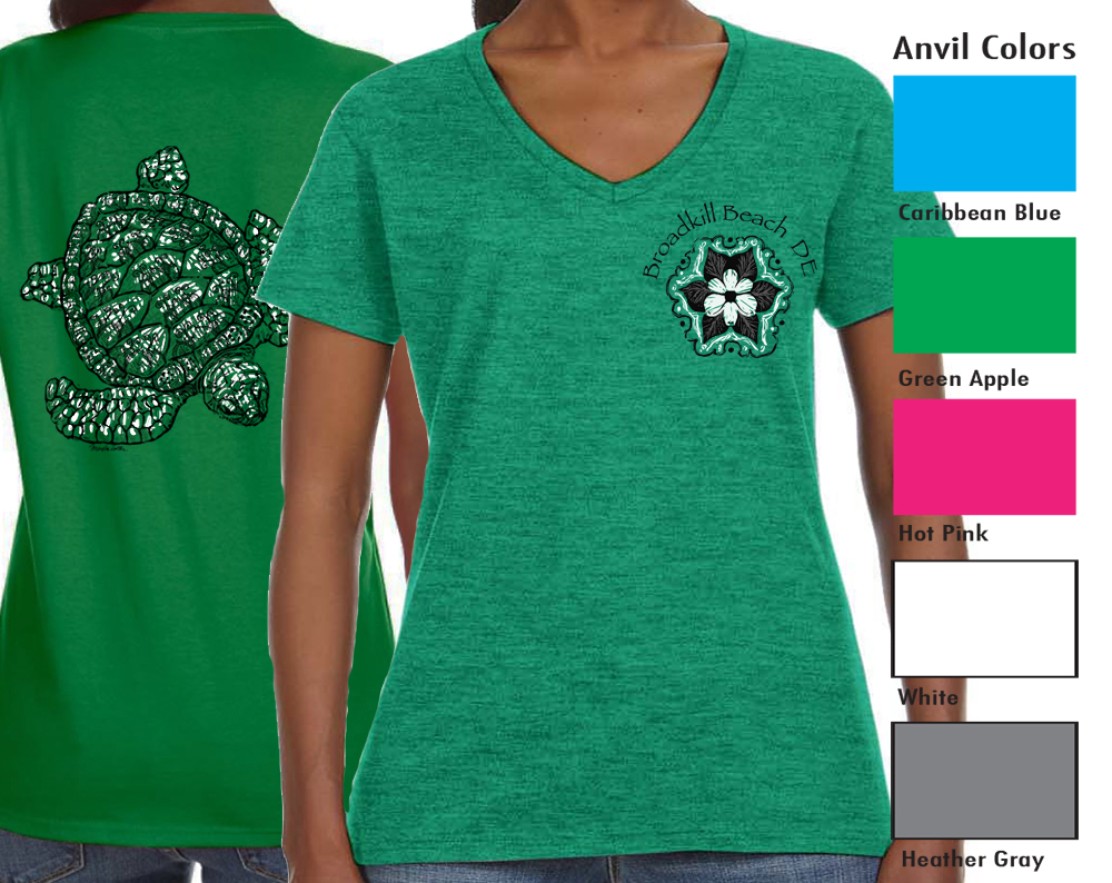 "Anvil 88VL Women's V-neck  SM-XL 10.00   XXL-12.00  Anvil® Women's 4.5 Ounce Lightweight V-Neck T-Shirt. Semi-fitted contoured silhouette with side seam. ½"" rib V-neck collar. TearAway label. 4.5 ounce fabric. 100% pre-shrunk ring spun cotton"
