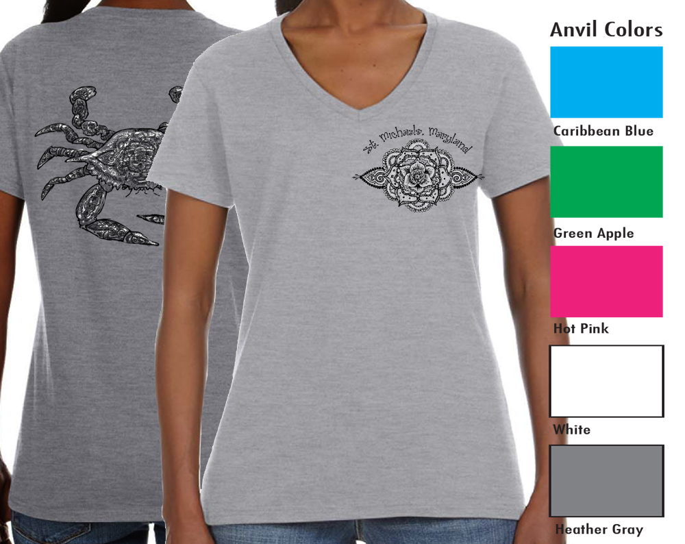 """Anvil 88VL Women's V-neck  SM-XL 10.00  XXL-12.00  Anvil® Women's 4.5 Ounce Lightweight V-Neck T-Shirt. Semi-fitted contoured silhouette with side seam. ½"""" rib V-neck collar. TearAway label. 4.5 ounce fabric. 100% pre-shrunk ring spun cotton"""