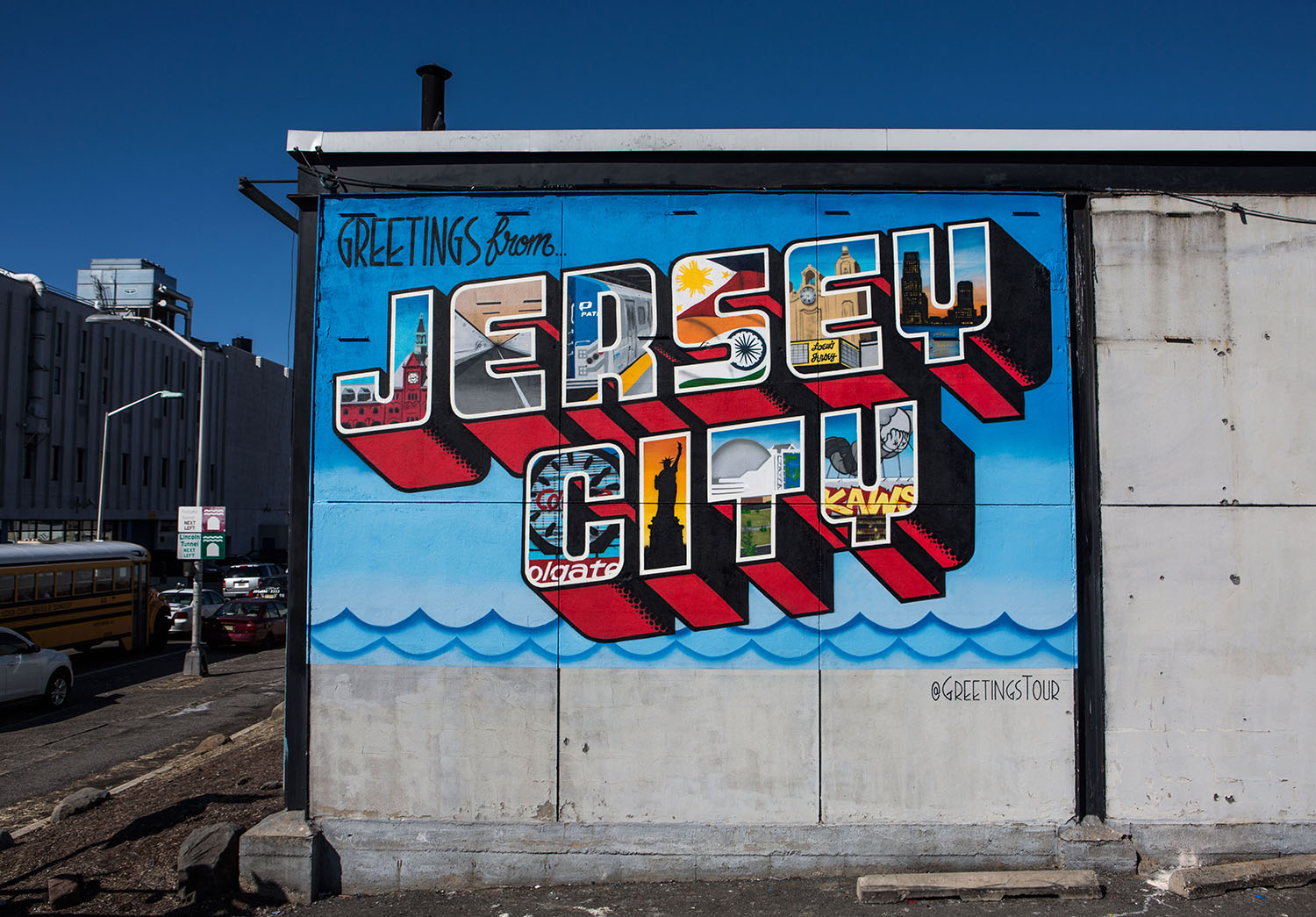 Jersey city nj greetings tour us postcard mural artists greetings from jersey city at a prime location just outside of the holland tunnel completed in march of 2015 we struggled to stay warm for this one m4hsunfo
