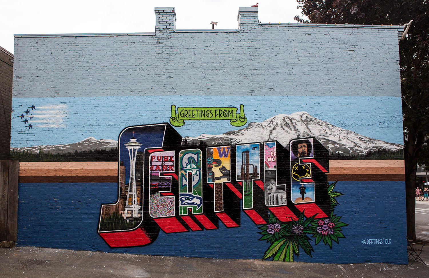 Seattle Wa Greetings Tour Us Postcard Mural Artists Traveling In Rv