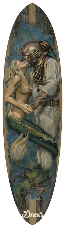 THE KISS | ACRYLIC AND RESIN ON FIBERGLASS SURFBOARD | 84X23""