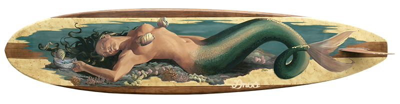 MOE'UHANE | ACRYLIC AND RESIN ON FIBERGLASS SURFBOARD | 23X108""